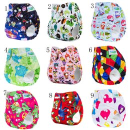 Wholesale Adjustable Diapers - Infant cartoon print adjustable Swim Diapers Cover Cloth Reusable Leakproof baby Diaper Covers pants kids Bread pants 26 styles C4215