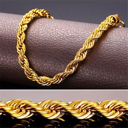 Wholesale 24k gold filled chains - 24K Real Solid Gold Filled Necklace For Men Heavy 3 7MM Charming Hip Hop Rope Jewelry Long Choker Wholesale Cuban Link Chain Free Shipping