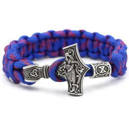 Wholesale Red Paracord - whole saleYoue Shone Norse Viking Thor Mjolnir Hammer Paracord Amuletceltic Rune Knot Amulet Scandinavian Bracelet Vantage Blue And Red