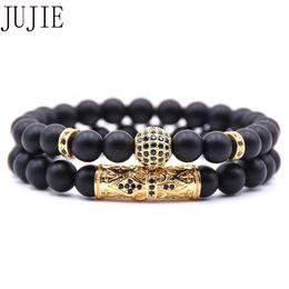 2019 bracelete da geada JUJIE Natural pulseira de pedra fosco micro-incrustada de zircão bola longo tubo duplo pulseira de energia homem bracelete da geada barato