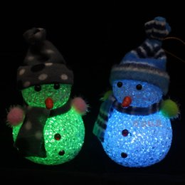 Wholesale Led Color Changing Snowman - Color Changing LED Snowman Christmas Decorate Mood Lamp Night Light Xmas Tree Hanging Ornament