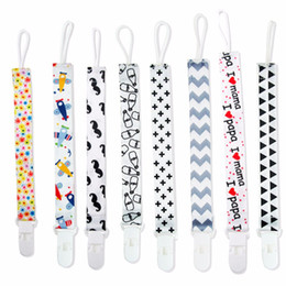 Wholesale Clips For Pacifiers - cartoon Baby Pacifier Clips Chain ribbon Funny Dummy Nipple Belt Teether Pacifier Holder Clip For Baby feeding Soother Chain