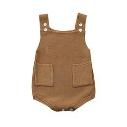 Feste overalltaschen online-Neugeborenes Baby-Mädchen-fester gestrickter Kleinkind-Taschen-Overall kleidet Spielanzug-Ausstattung D50