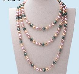 collana rotonda della perla della madre Sconti Nanyang madreperla 10mm rotonda naturale collana di perline maglione catena lunga nanyang dorato in rilievo 50 '' tre colori regalo opzionale