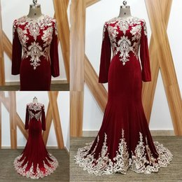 Wholesale Jewel Velvet Dress - Latest Long Sleeve Mermaid Evening Dresses Appliques Zipper Back Formal Evening Gowns Prom Dresses Vestido De Noche 2018