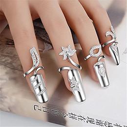 Argentina El anillo de dedo de uñas las mujeres de moda único de uñas Nail protectora Tapa Anillo extremidad del arte de la cubierta (4 pedazos fijados) Suministro