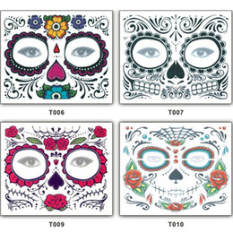 faccia messicana Sconti 150mm * 125mm Festa di Natale Facciale Day Of The Dead Faced Tattoo Halloween e Masquerade Ball Must Pretty Tattoo Sticker impermeabile