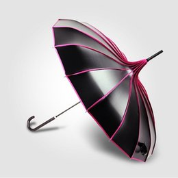 Wholesale Umbrella Photography - Long-handle UV Protection Black Coating Umbrella Rainy & Sunny Colorful Pagoda Umbrellas Photography Props Princess Gift wen5939
