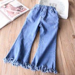 Wholesale Girls Vintage Boots - Everweekend Girls Vintage Ripped Boot Cute Denim Pants Vintage Cute Children Fashion Spring Autumn Pants