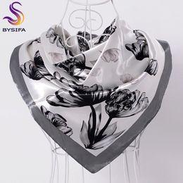 [BYSIFA] Sciarpa di seta nera bianca da donna Scialle 2017 Nuova marca di design Sciarpe quadrate di grandi dimensioni Involucro Vendita calda Sciarpa di testa Mulsim Capo da