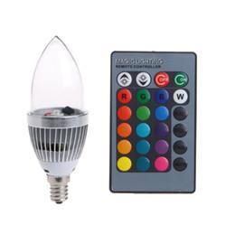 Wholesale led 15 w - E12 3W RGB LED 15 Colors Changing Candle Light Bulb Lamp w Remote Control AC85-265V