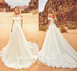 Wholesale lace up wedding corset - 2018 Modest Appliqued Lace Wedding Dresses Off The Shoulder Pleated Tulle Corset Lace Up Dreamy Wedding Gowns Beach Bridal Dresses