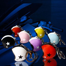 Wholesale motorcycle gift metal - 3D Motorcycle Safety Helmet Keychain Cute Helmet Carabiner Keychains Rings Sports Collection Bag Hangs Fashion Jewelry Gift drop ship 170869