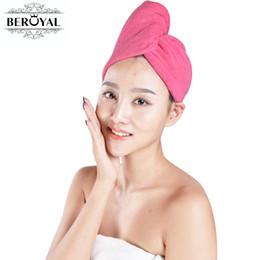 marcas de secador de cabelo Desconto Beroyal marca towel-10 pc microfibra toalha de cabelo magia secando turbante envoltório toalhas cap chapéu de cabelo seca secador rápido toalha mágica