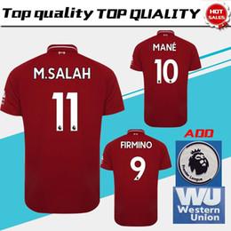 b168093e87 11 M.SALAH casa camisa de futebol vermelho 18 19   10 CAMISA de futebol  MANE 2019   8KEITA Uniformes de futebol têm patches Premier League W U  tamanho S-4XL ...
