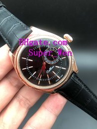 Wholesale Super Gold Glasses - Super Quality Sapphire Glass 39mm 18kt Rose Gold Cellini Date Black Guilloche Dial 50515 Mechanical Automatic Men's Watch Watches