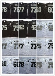 Wholesale Rugby Team Jerseys - Best Quality Men Throwback Stitced Rugby Jerseys 42 Lott 60 Sistrunk 75 Long 77 Alzado 78 Shell black white team color