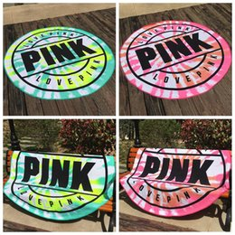 Wholesale quick dry towel microfiber - 160cm Pink Round Beach Towel Microfiber Absorbent Quick Drying Towels Swimming Bath Sports Towels Picnic Blanket Outdoor Mat CCA9655 20pcs