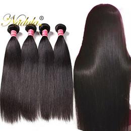 Wholesale Remy Bulk Hair Extensions - Nadula Brazilian Hair Straight Cheap Human Hair Bundles Virgin Human Hair Extensions 5Bundles Wholesale Unprocessed Remy Bulk Cuticle Aligne