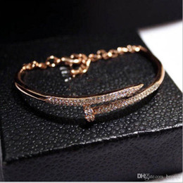 Wholesale Polished Quartz - New European and American trend temperament diamond color bracelet bracelet nail polish genuine gold color female