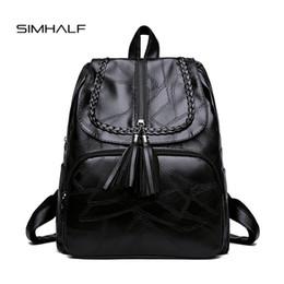 a3de9c2983ddc quaste schwarzer rucksack Rabatt SIMHALF Quaste Frauen Leder Rucksack  Teenager Rucksäcke für Mädchen Vintage feminine Rucksack