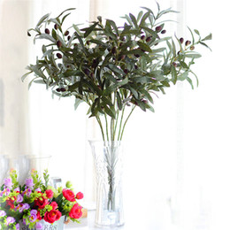 Wholesale artificial fruit for home decor - Wholesale-72cm Artificial European Olive Tree Branches leaf with olive fruit leaves for home wedding decor green fake flowers