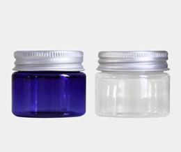 amostra de água livre Desconto Garrafa vazia pequena plástica clara de creme plástica azul do ANIMAL DE ESTIMAÇÃO 30ml do frasco 30ml com empacotamento cosmético do tampão de parafuso de alumínio