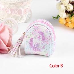8 pz / lotto Hot Unicorn Bag a forma di portachiavi Mini portamonete con cerniera piccola borsa decorazione portachiavi Cuoio sacchetto di cuoio del pendente gioielli di moda da