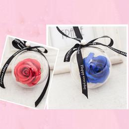 regalos románticos bola de cristal Rebajas Nueva simulación rosa flor de jabón cadena de cristal de plástico bola de jabón flor rosas colgante adornos de coches románticos regalos del banquete de boda