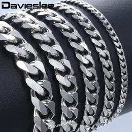 2019 браслеты из нержавеющей стали Bracelet for Men Women Curb Cuban Link Chain Stainless Steel Mens Womens Bracelets Chains Davieslee Jewelry for Men DLKBM05 скидка браслеты из нержавеющей стали