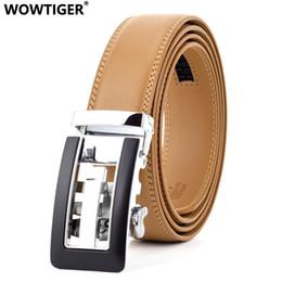 WOWTIGER Boucle automatique vache véritable en cuir de luxe Hommes Ceinture  marron clair 3.5 cm mâle Jeans sangle ceintures pour hommes Ceinture Homme d3526990992