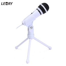 Cablaggio del microfono del pc online-Microfono a condensatore LEORY Microfoni da tavolo stereo dinamici cablati da 3,5 mm Microfono con supporto per PC Record di trasmissione portatile