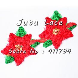 Wholesale christmas shabby flowers - 50   lots 3 '' christmas shabby chiffon flowers trim for headband apparel accessories