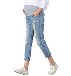 Wholesale pants for pregnant women - New Jeans Maternity Pants For Pregnant Women Clothes Trousers Nursing Prop Belly Legging Pregnancy Clothing Overalls Ninth Pants