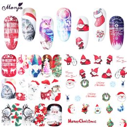 2019 decalcomanie di arte del chiodo Monja 16 fogli nail art serie di Natale adesivi per il trasferimento dell'acqua Babbo Natale pupazzo di neve gufo copertura completa watermark decalcomanie decorazioni decalcomanie di arte del chiodo economici