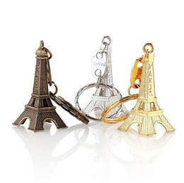 Llavero de bronce online-2018 Nuevo llavero de la Torre Eiffel sellado París Francia Oro Astilla Bronce llavero regalos Moda Al por mayor