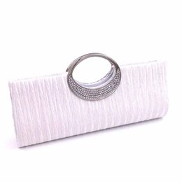 25d0931b82d 2018 Hot Fashion Women Rhinestone Evening Hand Bag Satin Wedding Purse  Bridal Party Purse Chain Clutch Vintage Handbag