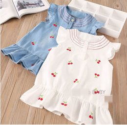 Wholesale Cherry T Shirt - 2018 Summer New Baby Girls T-shirts Embroidery cherry Sleeveless vest Children Clothing 2-8Y 321251