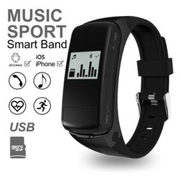 Wholesale Earphone Bracelet - New Fashion Design Smart Bracelet Bluetooth Earphone 2 in 1 Heart Rate Smart Band Healthy Sports Wristband for IOS Android Phone