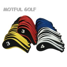 ferrules en bois Promotion fers à repasser Fer Golf htzyhstore Fermeture à glissière Headcover fixé tête Couverture avec zip 10pcs / pack numéro de couleur rouge imprimé