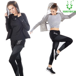 Wholesale reflective running pants - 4pcs set Women's Sportswear Running Reflective Sets SPT Sport Clothing Gym Suits Fitness Training Jogging Yoga Sets Sport Suits