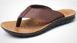 Wholesale rubber sole flip flops - Men's slippers Cow Leather Fashion Flip Flops With Soft Sole Trendy Breathable Easy To Match Men Summer Shoes European shoe size: 39-44