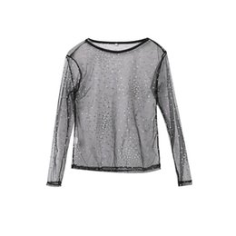 9ca4c0eb81a Women Lady Fashion Sexy Long Sleeve Sequined See Through Sheer Mesh Tops  Casual Black Shirt Outfit Evening Party