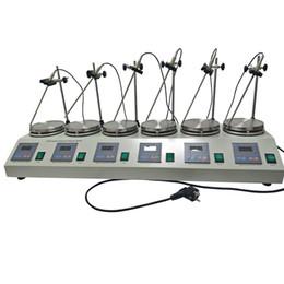 Wholesale magnetic mixer - 6 Heads Multi unit units Digital Thermostatic Magnetic Stirrer Hotplate mixer 110V or 220V