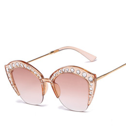 4daae0d718ab Cubojue Rhinestone Sunglasses Women Cat Eye Half Frame Sun Glasses for Woman  Ladies Fashion Diamond Gradient Lens Female sunglasses half cat on sale