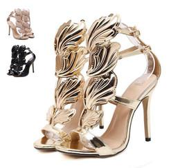 Sandali di fiamma online-Flame metal leaf Wing Sandali con tacco alto Oro Nude Black Party Events Shoes Size 35 to 39