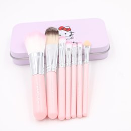 77a11d3cd Sweet Girl Hello Kitty Pink Iron Case Makeup Brush Kit 7 PCS make up brushes  set Professional Quality Cosmetic Tool Metal box