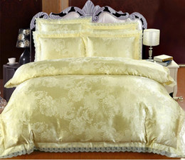 Wholesale Embroidered Satin Bedding Sets - Lace Embroidery Bedding Sets Luxury Beige Flower Jacquard Satin Duvet Cover Queen King Size Bedclothes Bed Sheet Cotton