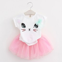 Wholesale Mesh Skirt Set - 2pcs Newborn Baby Girls Toddler Bead Tulle Tutu Skirt Summer Cat T Shirt Elastic Mesh Tulle Tutu Skirt Outfit Clothes Set
