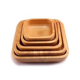 Wholesale wholesale square dishes - Square Wooden Salad Bowl Tableware Simple Wood Color Fruit Plate For Home Kitchen Tool Dessert Coffee Dish 38xy C